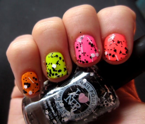 Funky Neon Nail Art Design for Party