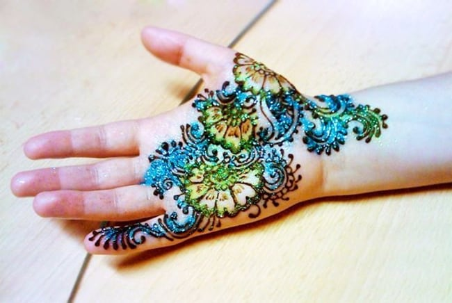 Glitter Front Hand Kids Mehndi Design Photos