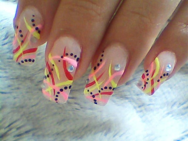 Good Funky Neon Abstract Nails Designs
