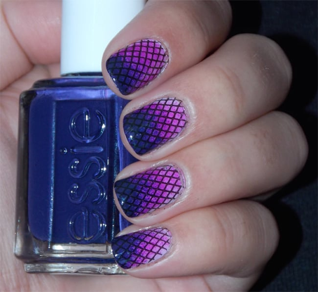 Gradient Style Purple Fishnet Nail Designs 2018