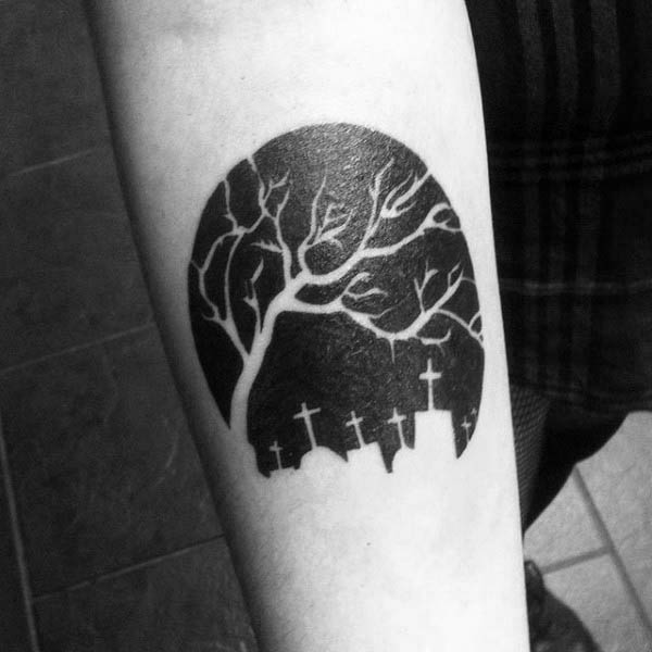 Great Cemetery Negative Space Tattoo With Graves