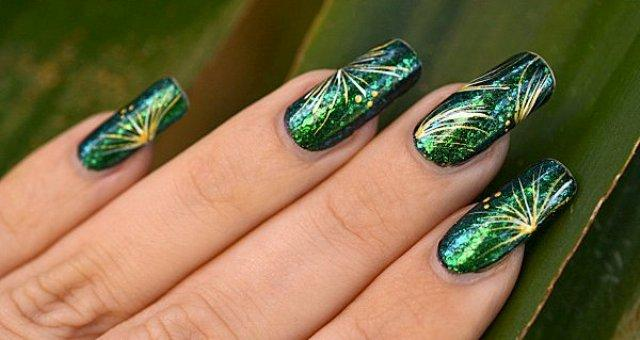 Green Color Nail Design Ideas for Eid Ul Azha