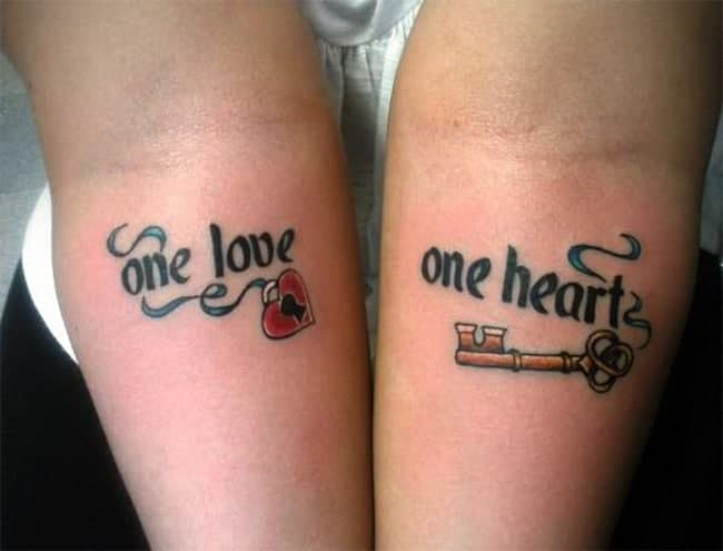 Heart and Key Girlfriend and Boyfriend Tattoo Designs 2018