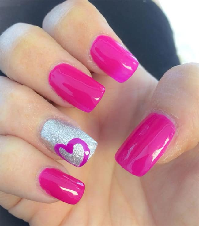 Hot Pink Nail Designs with Hearts - 22 Cute Heart Nail Designs Images For Girls - SheIdeas
