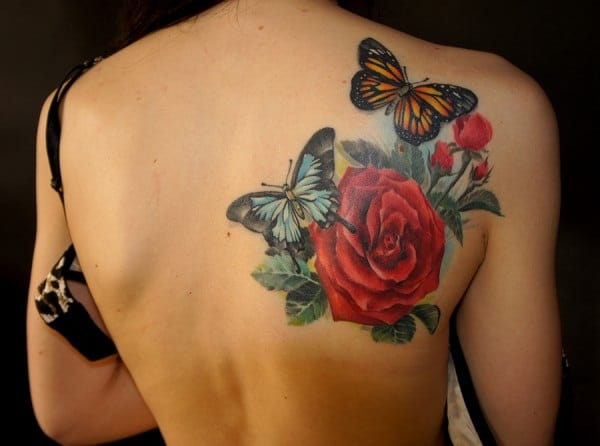 Ladies Rose and Butterfly Tattoos Photos 2016