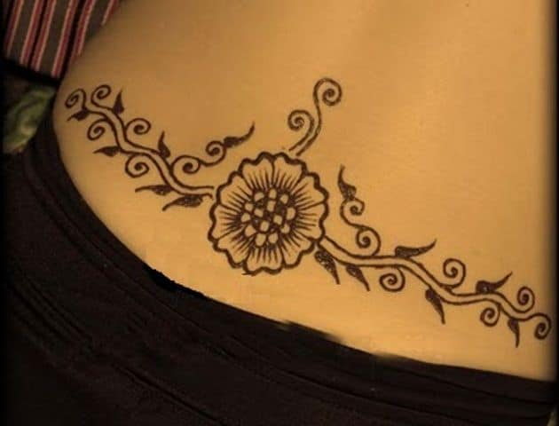 Lower Back Body Mehndi Designs for Ladies