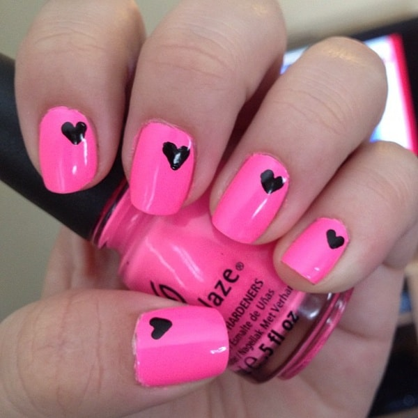 New Pink and Heart Funky Nail Designs for Girls