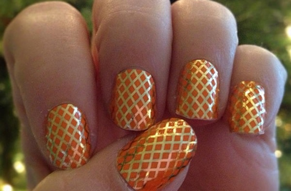 Orange Fishnet Nail Design Art Ideas for Wedding