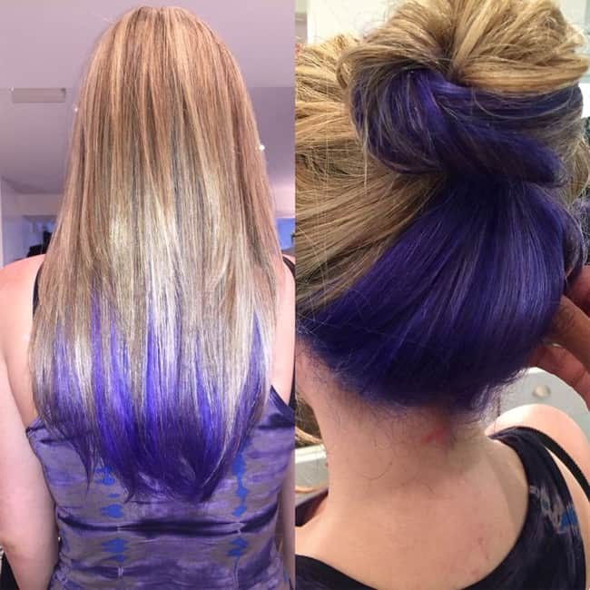 Purple Blue Streaks Blonde Hairstyles Ideas