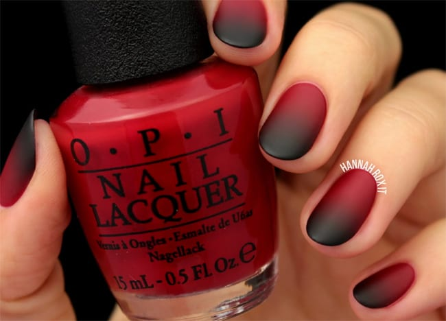 Red and Black Ombre Nails Polish Ideas