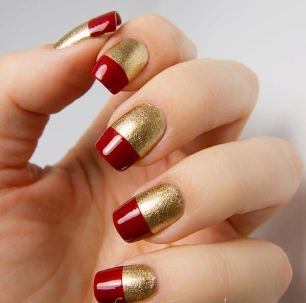Red and Golden Nail Art Designs For Eid 2017