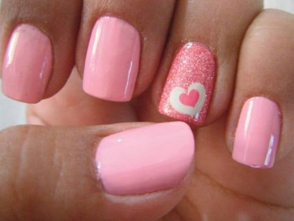 Simple Heart Nail Design for Women