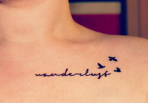 Stylish Letters and Birds Collarbone Tattoo Ideas