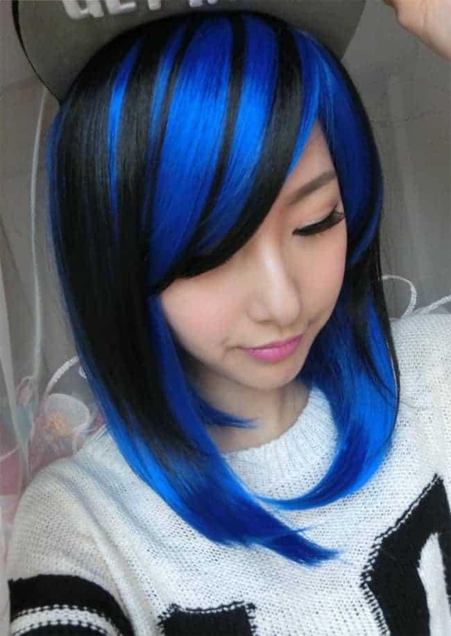 Two Tone Black and Blue Hair Color Ideas