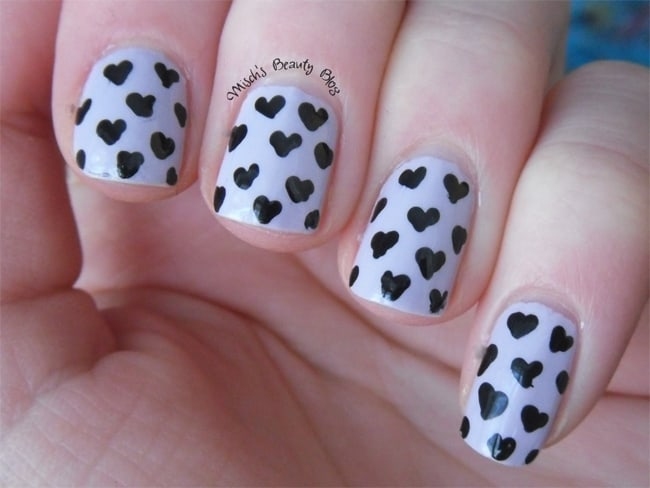 White and Black Heart Nail Art for Ladies