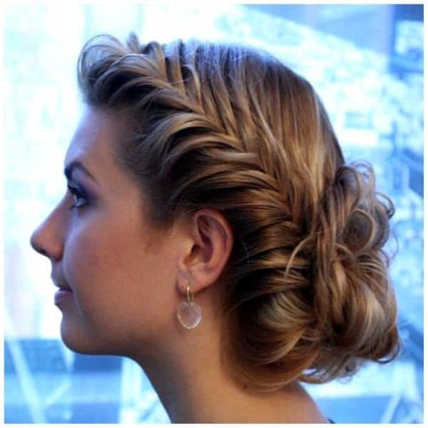 Wonderful Girls Fishtail Hairstyle With Buns