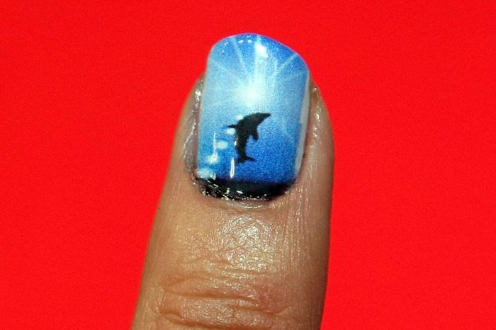 sunset ombre dolphin nail art - Sunset Ombre Dolphin Nail Art - SheIdeas