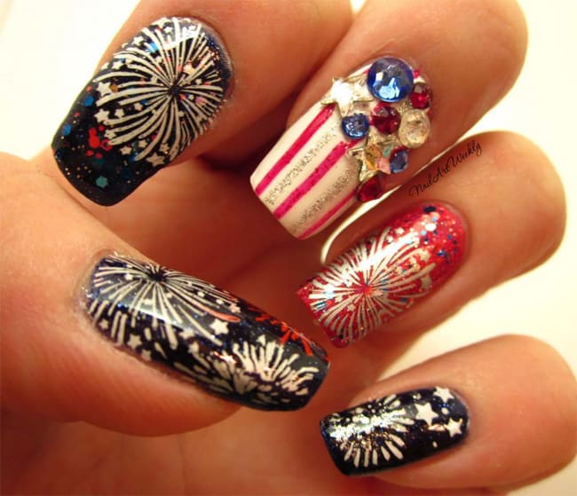 Amazing Fireworks Nail Designs for Girls - 13 Romantic Fireworks Nail Art Designs - SheIdeas