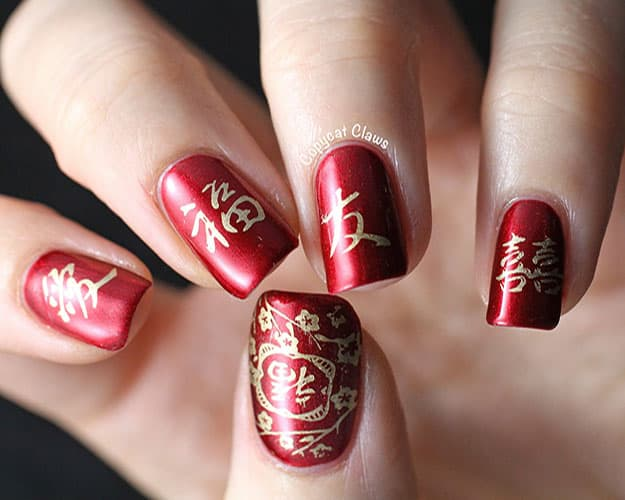 Awesome Red Chinese Nail Art Designs for Holidays