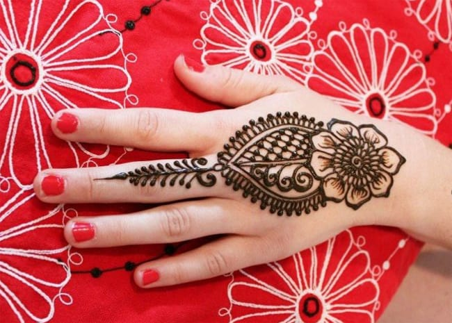 Back Hand Bridal Flower Henna Designs for Party