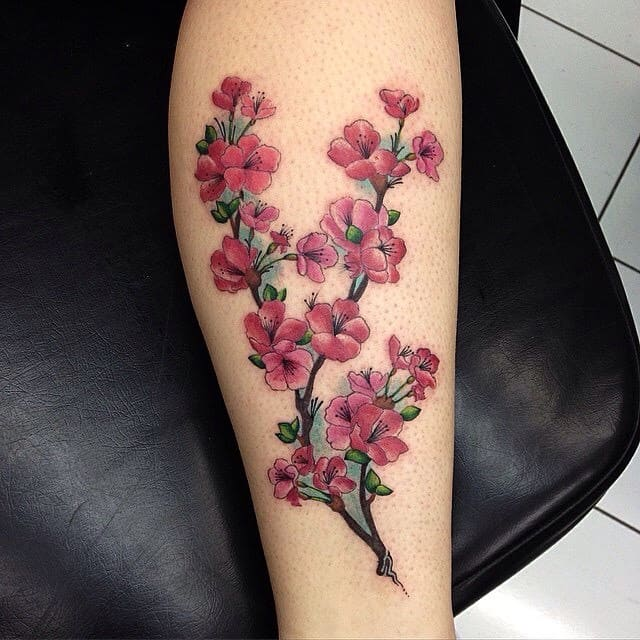 Beautiful Cherry Blossom Tattoos Ideas on Leg