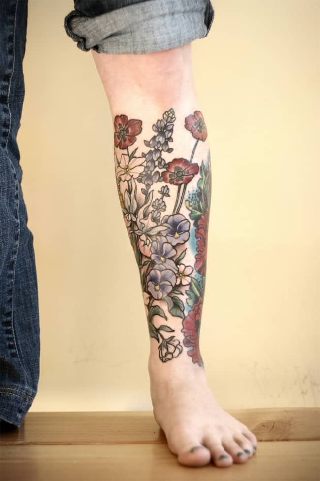 Flower Leg Tattoos: 17 Amazing Leg Sleeve Tattoos For Females