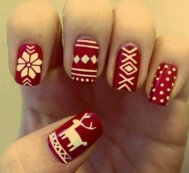Beautiful Red Holiday Nail Designs 2016