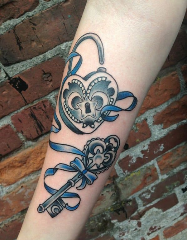 Best Old Style Lock and Key Tattoo Ideas 2016
