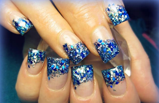 Blue Holiday Nail Artwork Ideas for Women