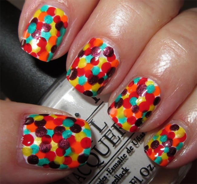Bright Polka Dots Nails Designs for Christmas
