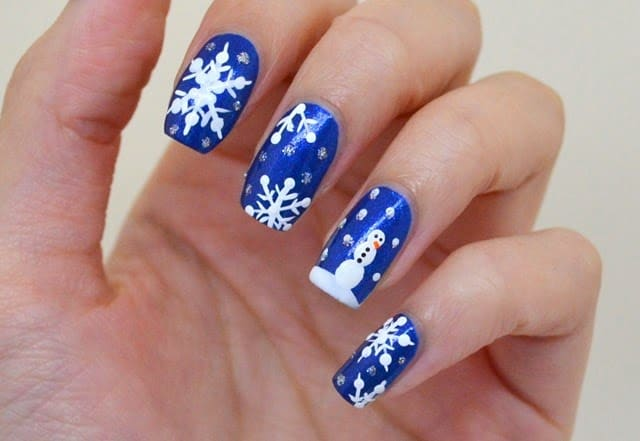 Cheerful Holiday Blue Nail Art Images