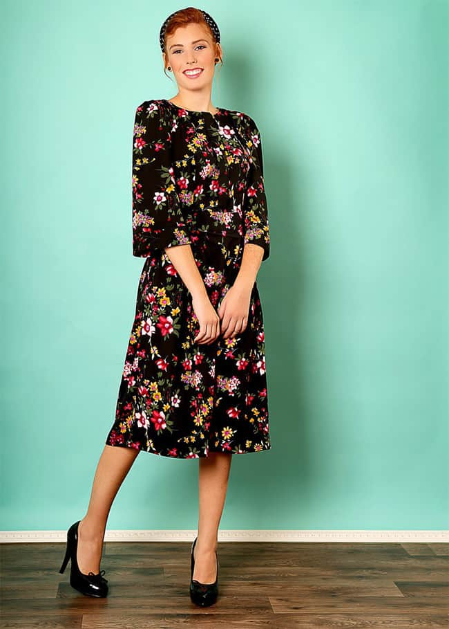 Cool Black Floral Print Dress for Summer Party