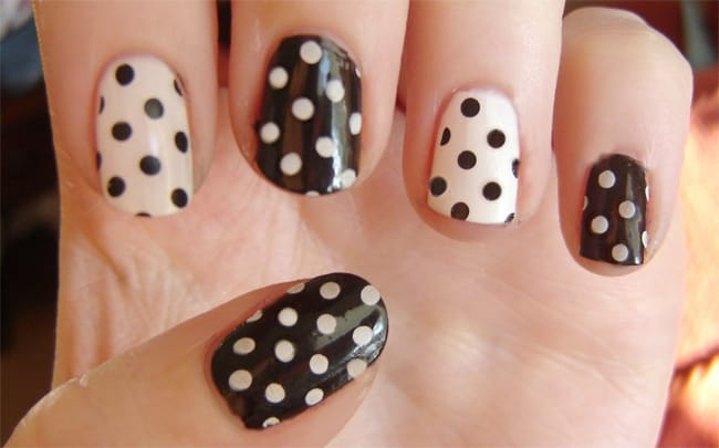 Cool Black and White Polka Dots Nail Designs