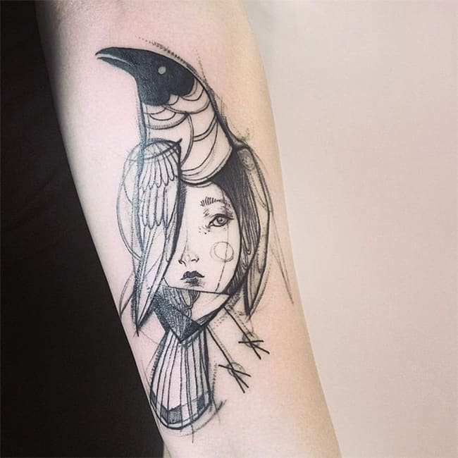 Creative Sketch Tattoo Designs for Girls