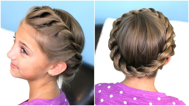 Crown Twist Braid Updo Hairstyles for Wedding