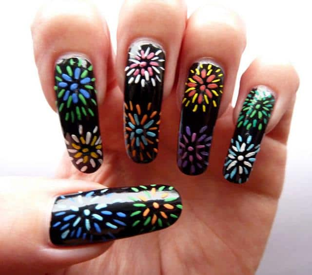 Cute Fireworks Nail Art Designs for Long Nails
