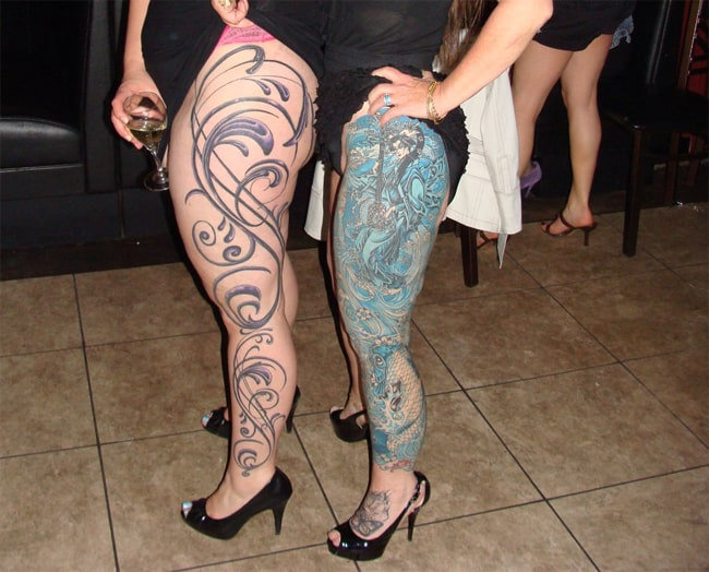 Elegant Traditional Legs Sleeves Tattoo for Women