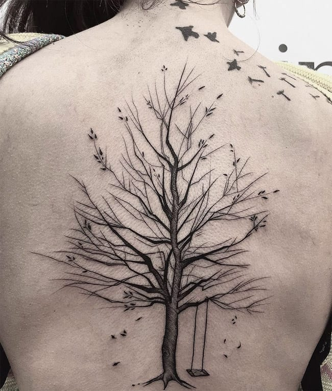 Elegant Tree Sketch Tattoo Ideas for Ladies