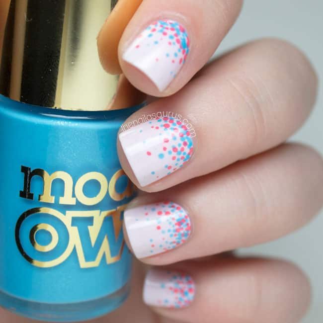 Fantastic Blue and Pink Polka Dots Nails Art
