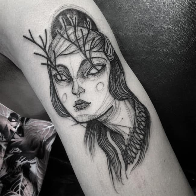 Fantastic Sketch Tattoos on Leg for Girls