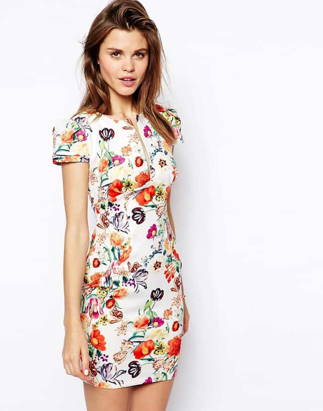 Floral Print Mini Pencil Dresses for Women