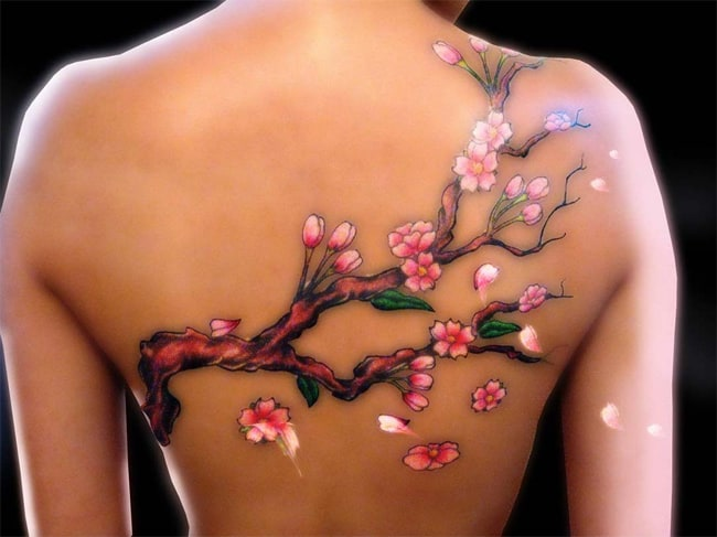Full Back Cherry Blossom Tattoo Art for Women