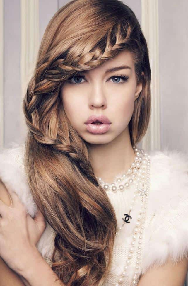 Girls Braided Bangs Hairstyles for Long Hair 2016