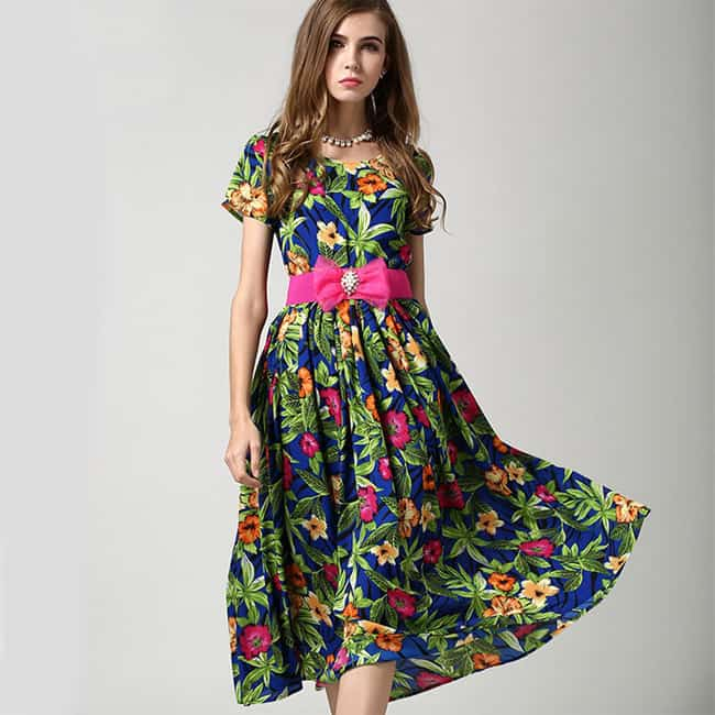 Long Chiffon Floral Print Summer Dress for Girls