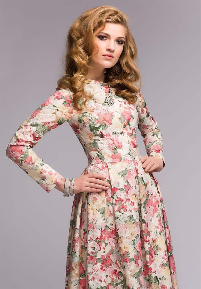 Long Sleeve Vintage Floral Print Dress for Wedding