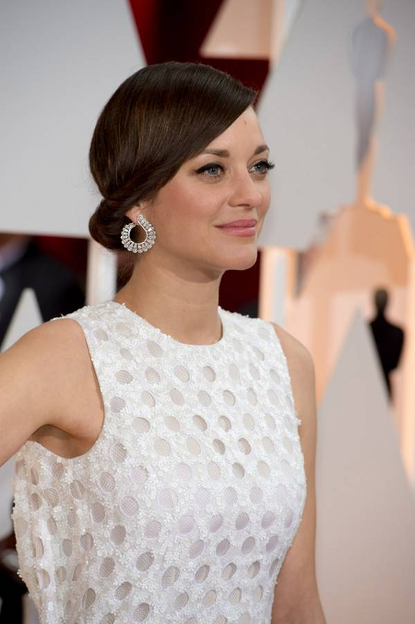 Marion Cotillard Twisted Bun Hairstyle Pictures