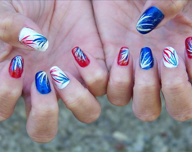 New Fourth of July Fireworks Nail Designs for Party