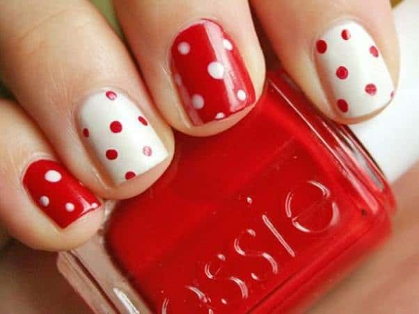 New Red and White Polka Dot Nail Art Pictures