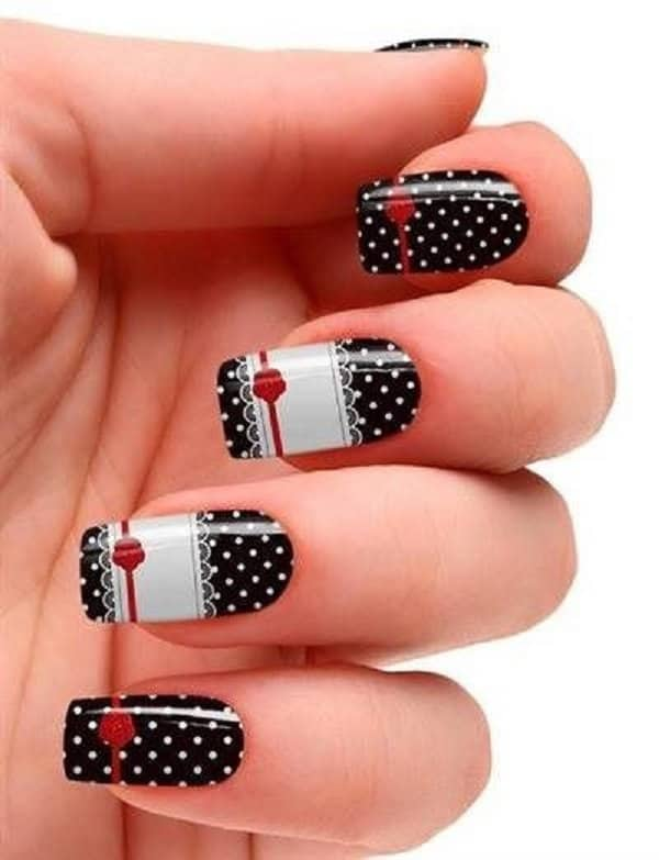 Polka Dots and Lace Nail Art Designs 2017