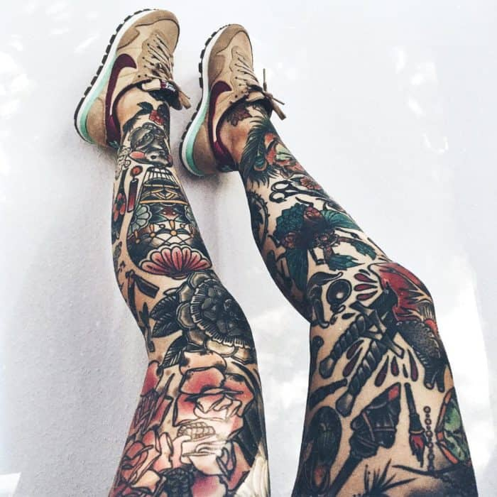 17 Amazing Leg Sleeve Tattoos For Females